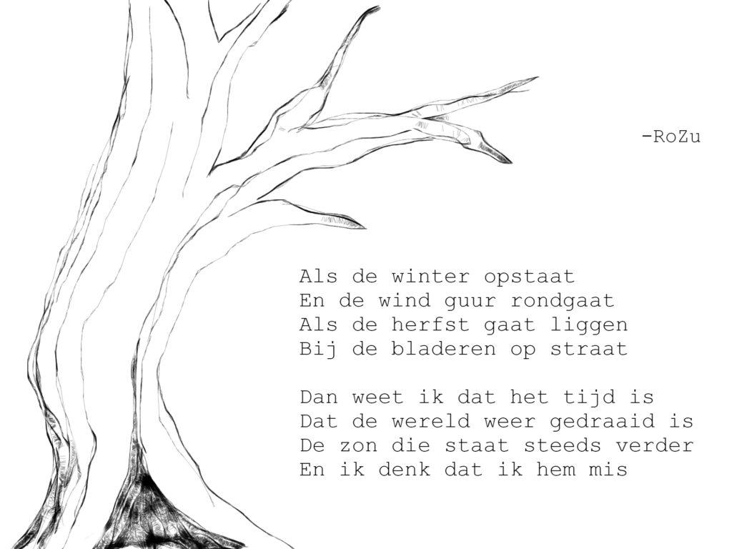 Als de winter opstaat En de wind guur rondgaat Als de herfst gaat liggen Bij de bladeren op straat  Dan weet ik dat het tijd is Dat de wereld weer gedraaid is De zon die staat steeds verder En ik denk dat ik hem mis